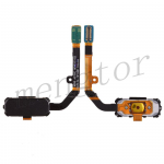 Home Button with Flex Cable, Connector and Fingerprint Scanner Sensor for Samsung Galaxy S7 Active G891 - Black