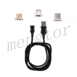 3in1 Micro USB/ Type C/ IOS Magnetic Adapter Fast Charging Cable for Mobile Phone - Black