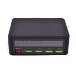 5 Ports Quick Charge 3.0 USB Charger Adapter Smart LED Display Charging Station - Black