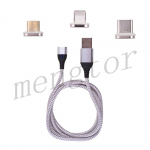 3in1 Micro USB/ Type C/ IOS Magnetic Adapter Fast Charging Cable for Mobile Phone - Silver