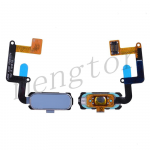 Home Button with Flex Cable,Connector and Fingerprint Scanner Sensor for Samsung Galaxy A7 2017 A720 - Blue