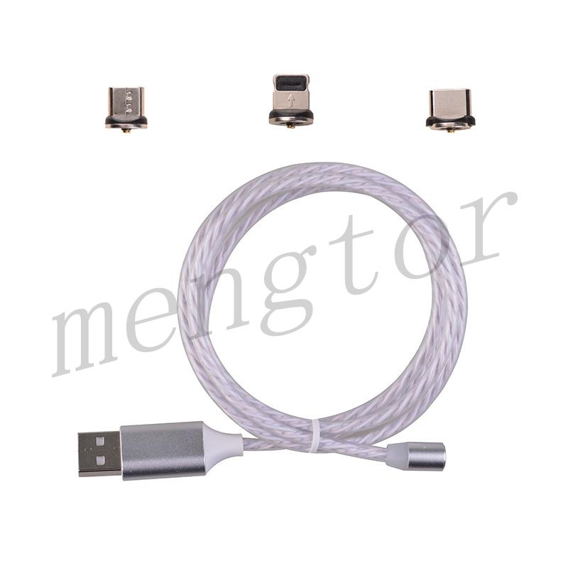 3in1 Micro USB/ Type C/ IOS Magnetic Adapter Flowing LED Light up Fast Charging Cable for Mobile Phone - Silver