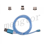 3in1 Micro USB/ Type C/ IOS Magnetic Adapter Flowing LED Light up Fast Charging Cable for Mobile Phone - Blue