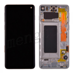 LCD Screen Display with Digitizer Touch Panel and Bezel Frame for Samsung Galaxy S10 G973(Silver Frame) - Black