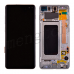 LCD Screen Display with Digitizer Touch Panel and Bezel Frame for Samsung Galaxy S10 Plus G975(Silver Frame) - Black