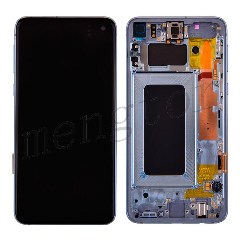 LCD Screen Display with Digitizer Touch Panel and Bezel Frame for Samsung Galaxy S10e G970,S10 Lite(Blue Frame) - Black