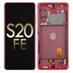 OLED Screen Digitizer Assembly with Frame for Samsung Galaxy S20 FE G780 (Service Pack) - Cloud Red