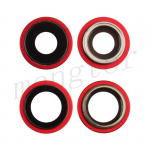 Rear Camera Glass Lens and Cover Bezel Ring for iPhone 12/ 12 Mini (2 Pcs/set) - Red