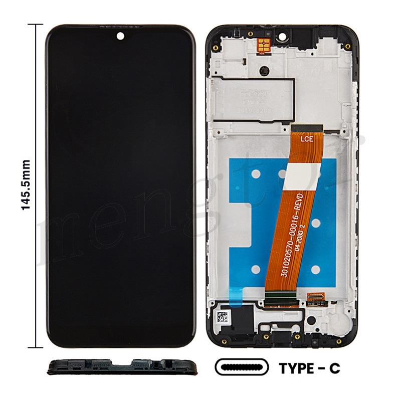 LCD Screen Digitizer Assembly with Frame for Samsung Galaxy A01(2019) A015(Narrow FPC Connector) (for America Version) (Size 145.5mm) - Black